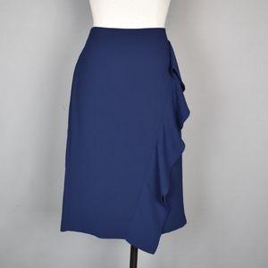 (J. Crew) Ruffle Pencil Skirt in 365 Crepe